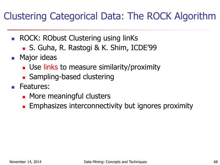 Clustering Categorical Data: The ROCK Algorithm