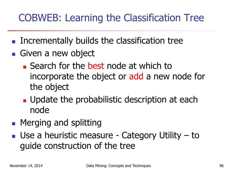 COBWEB: Learning the Classification Tree