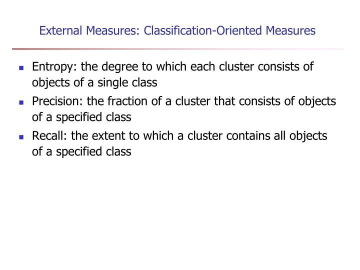 External Measures: Classification-Oriented Measures