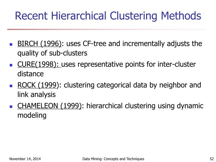 Recent Hierarchical Clustering Methods