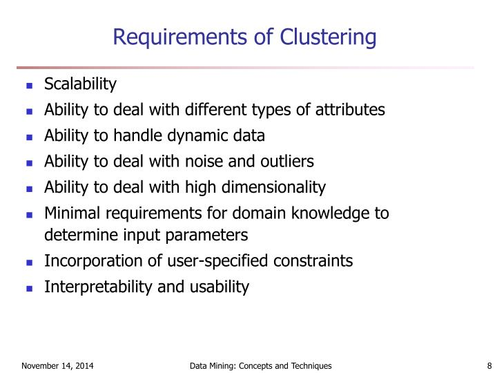Requirements of Clustering