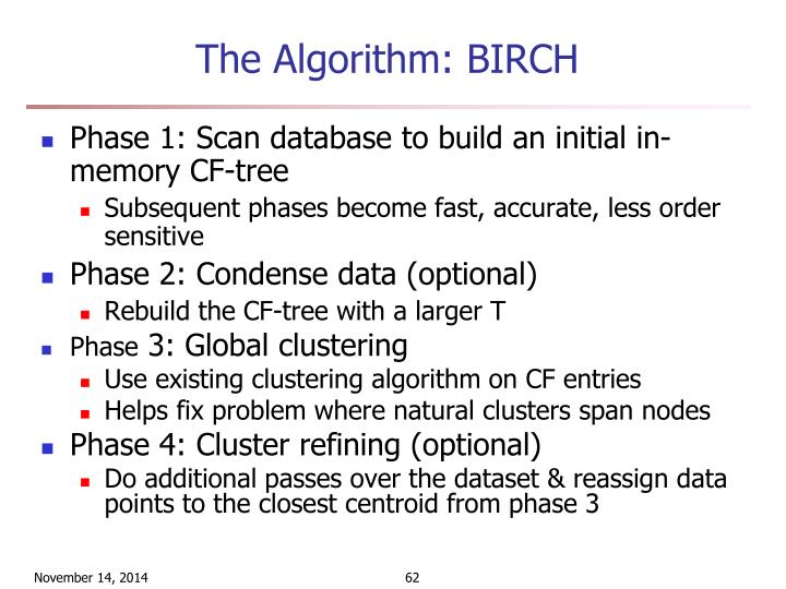The Algorithm: BIRCH
