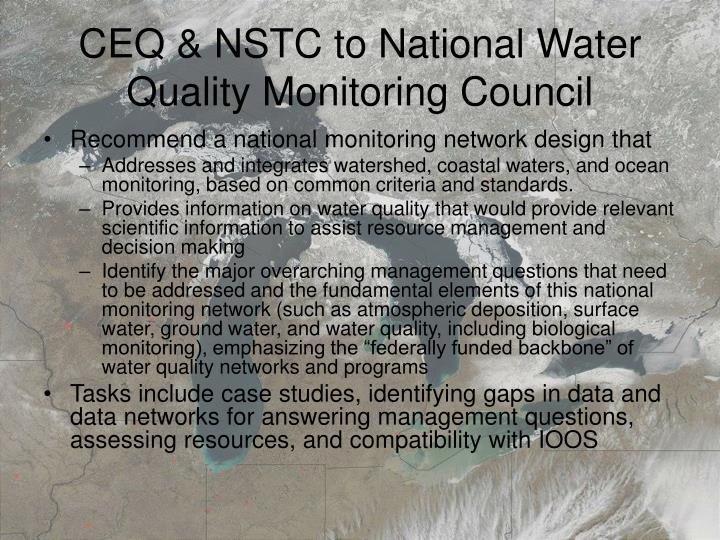 Ceq nstc to national water quality monitoring council