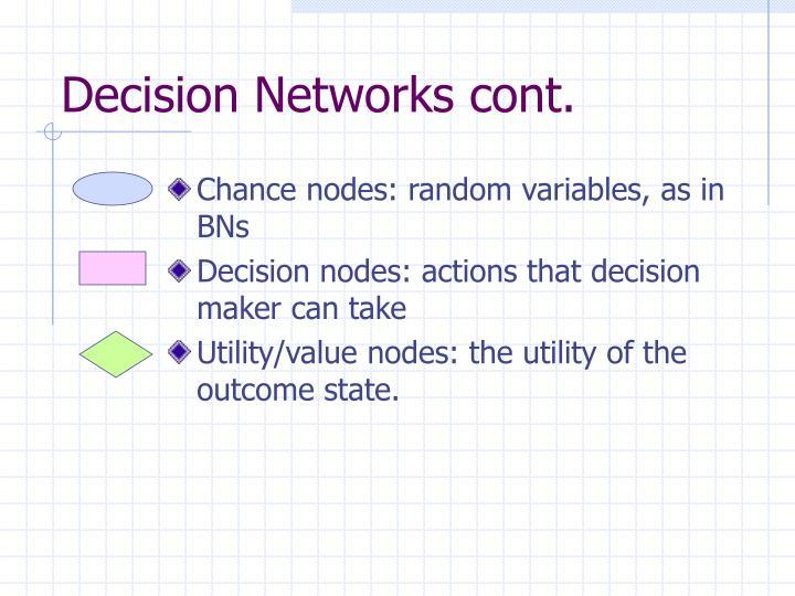 Decision Networks cont.