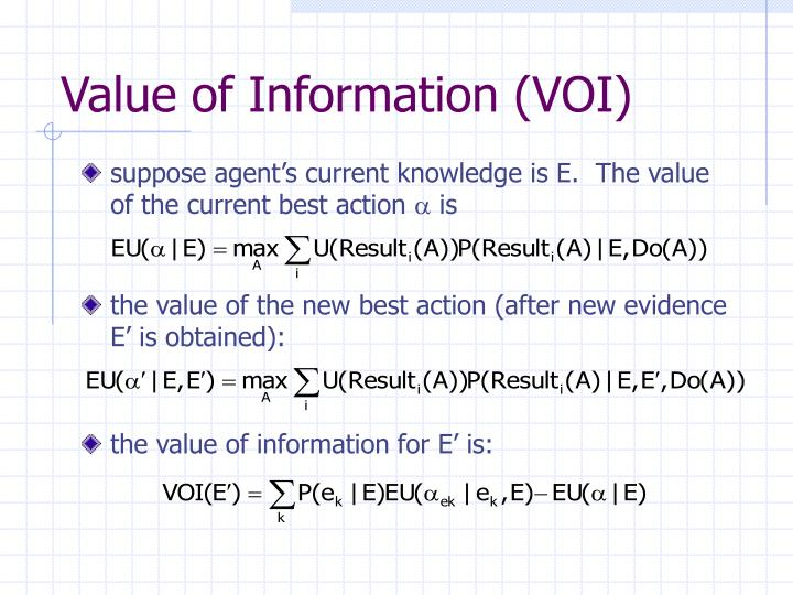 the value of the new best action (after new evidence E' is obtained):