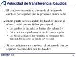 velocidad de transferencia baudios