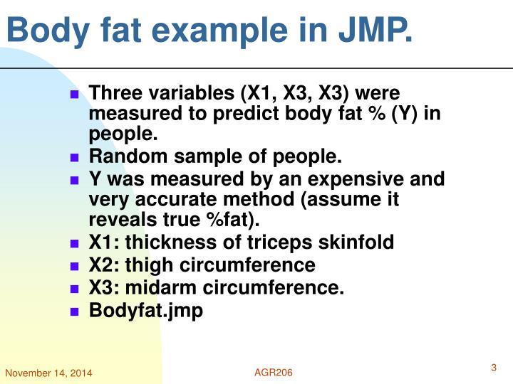 Body fat example in jmp