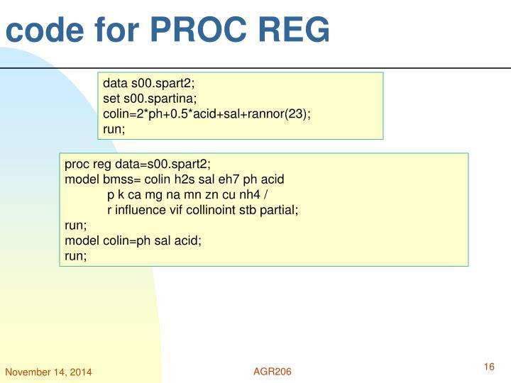 code for PROC REG