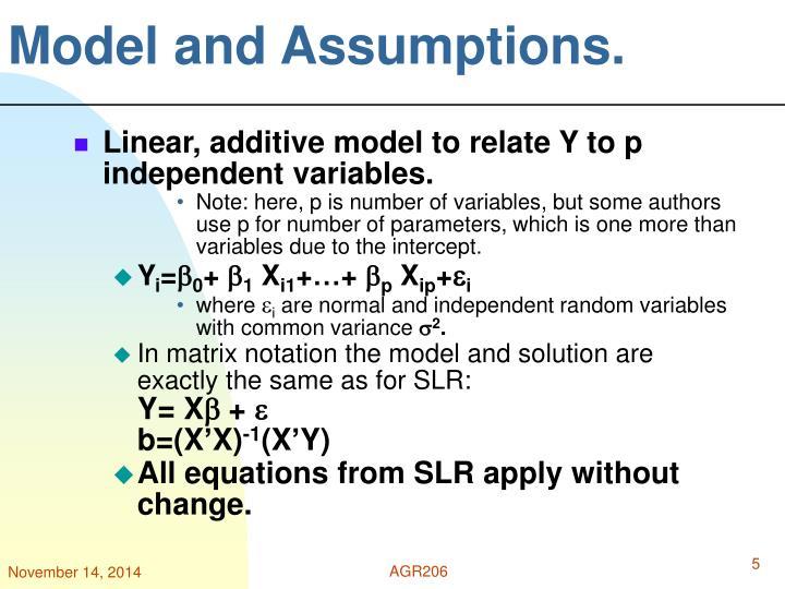 Model and Assumptions.