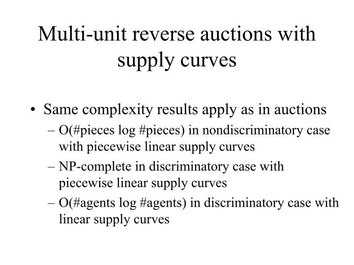 Multi-unit reverse auctions with supply curves