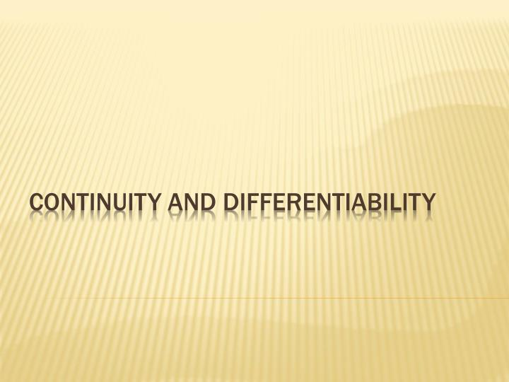 continuity and differentiability