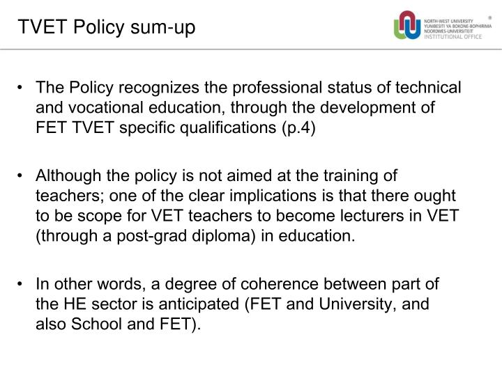 TVET Policy sum-up