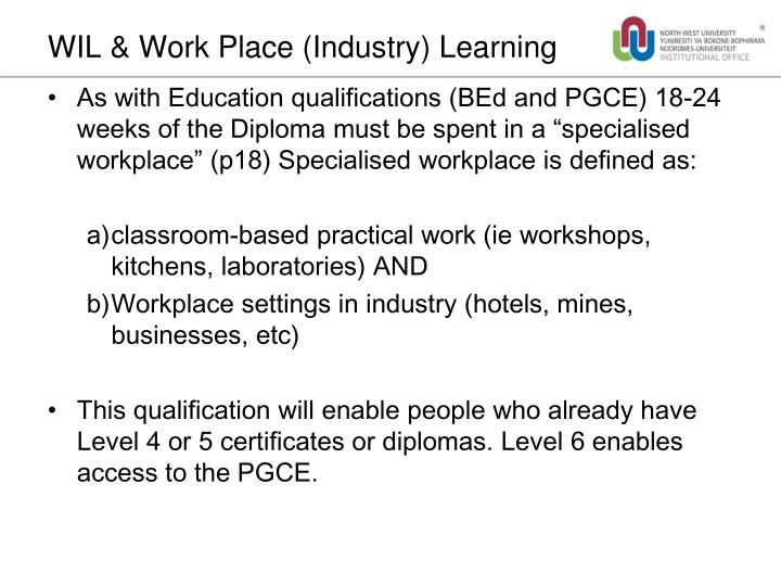 WIL & Work Place (Industry) Learning