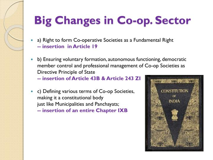 Big Changes in Co-op. Sector