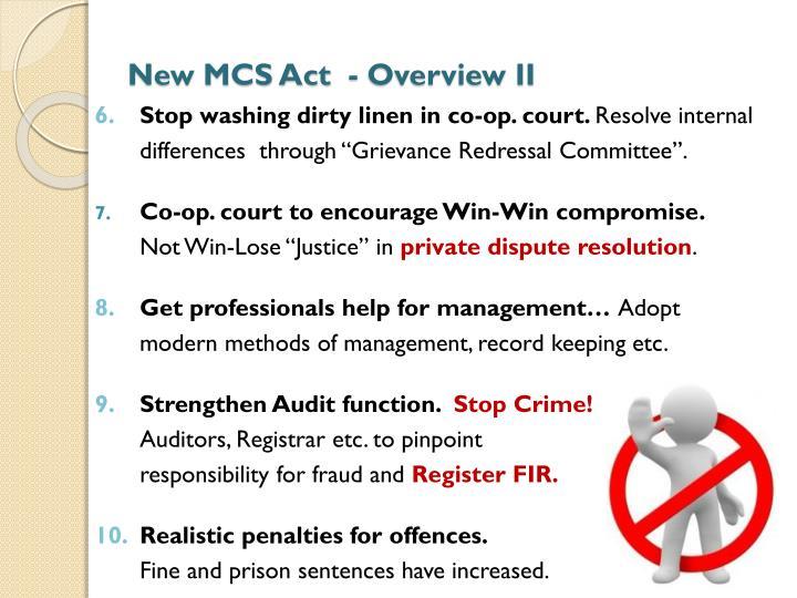 New MCS Act  - Overview II
