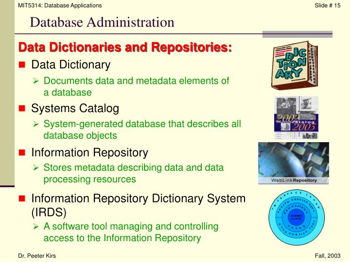 Data Dictionaries and Repositories: