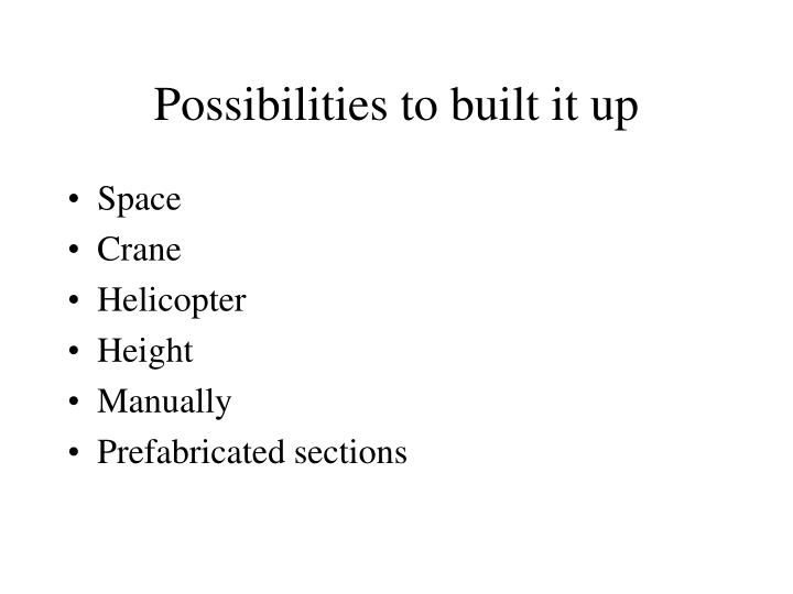 Possibilities to built it up