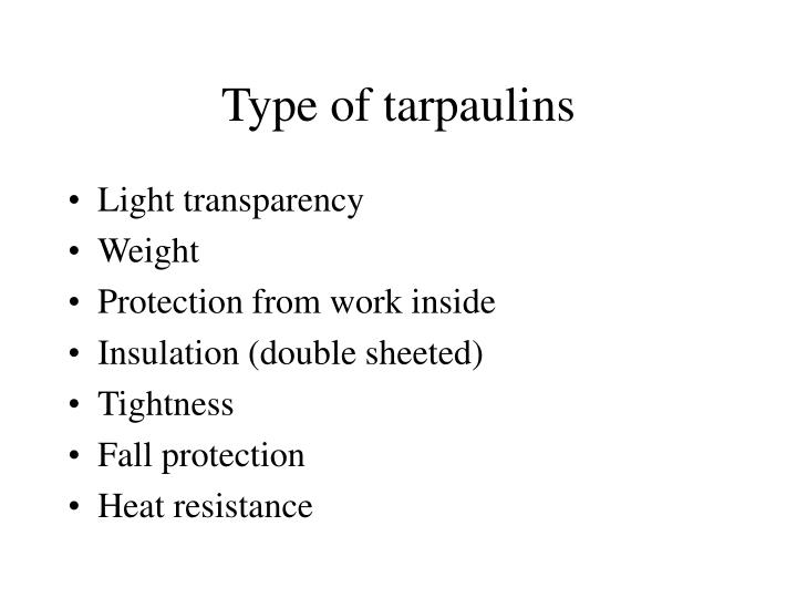 Type of tarpaulins