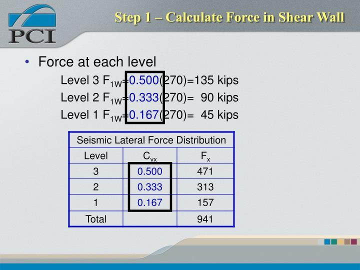 Step 1 – Calculate Force in Shear Wall