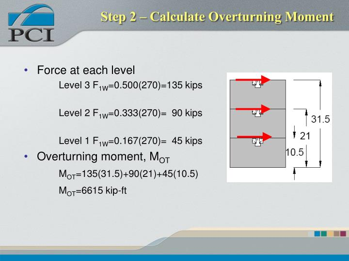 Step 2 – Calculate Overturning Moment