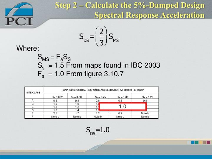 Step 2 – Calculate the 5%-Damped Design Spectral Response Acceleration