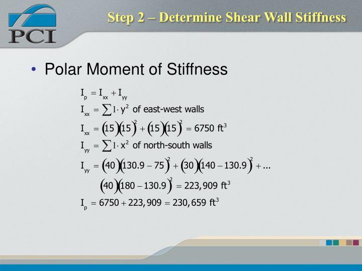 Step 2 – Determine Shear Wall Stiffness