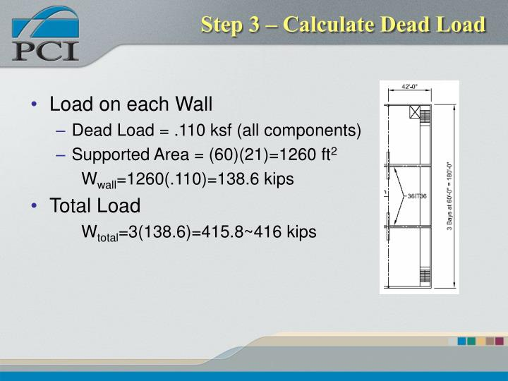 Step 3 – Calculate Dead Load