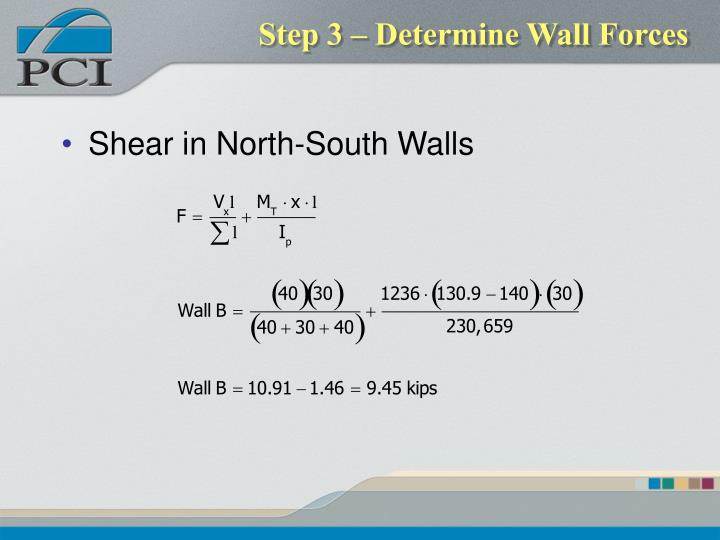 Step 3 – Determine Wall Forces