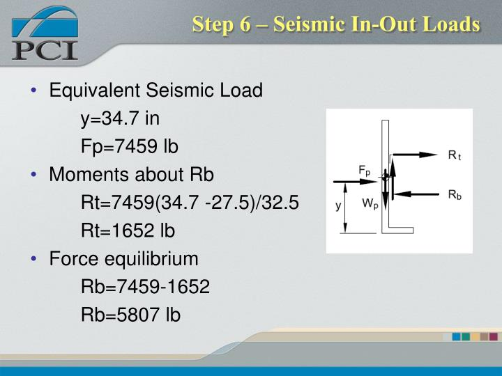 Step 6 – Seismic In-Out Loads