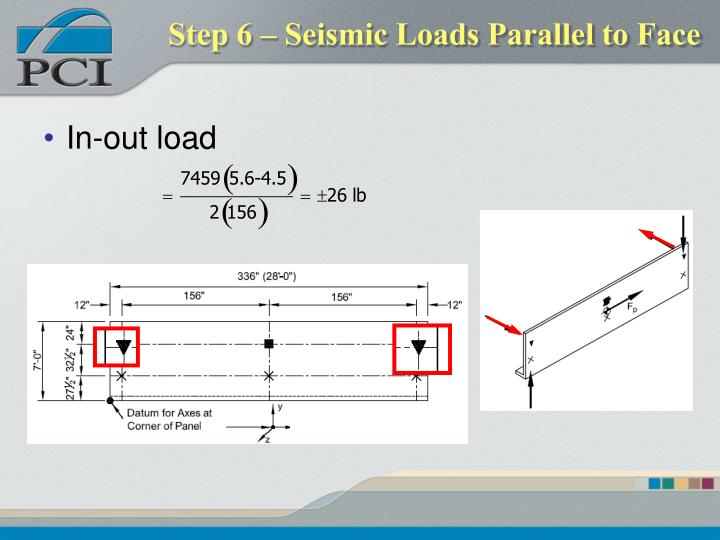 Step 6 – Seismic Loads Parallel to Face