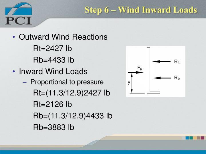Step 6 – Wind Inward Loads