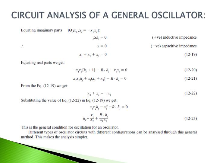 CIRCUIT ANALYSIS OF A GENERAL OSCILLATOR: