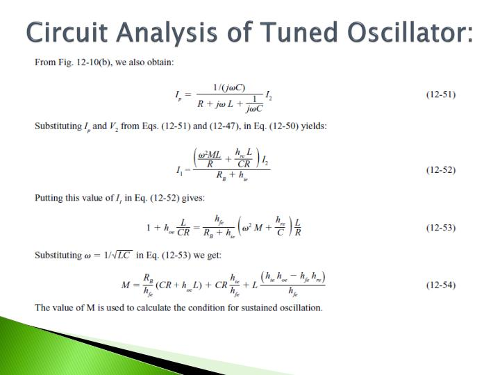 Circuit Analysis of Tuned Oscillator: