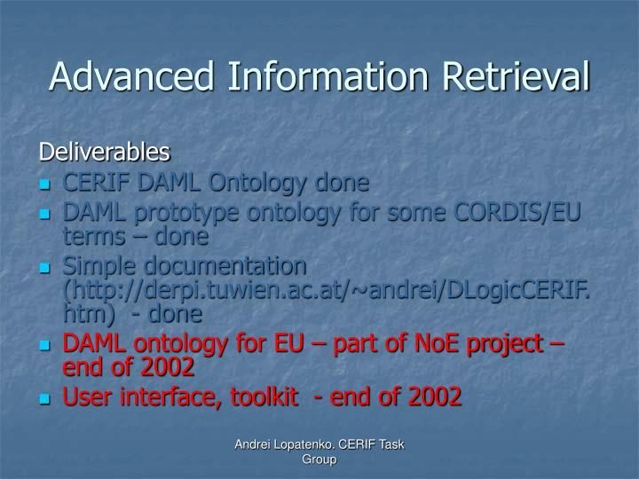 Advanced Information Retrieval