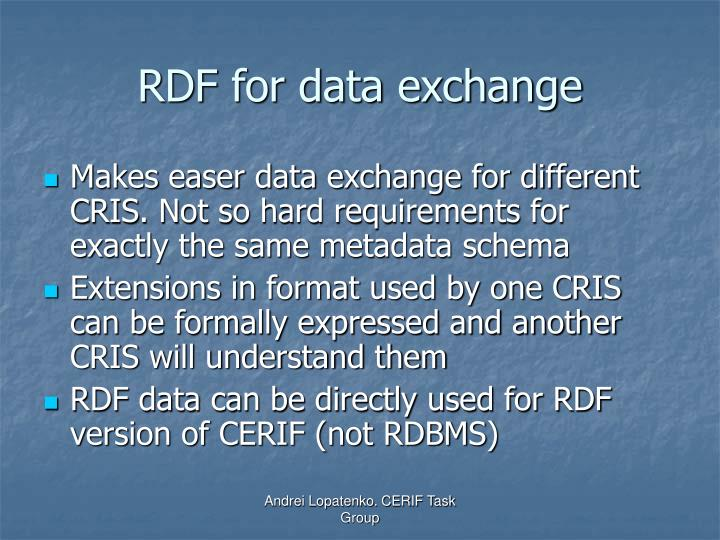 RDF for data exchange