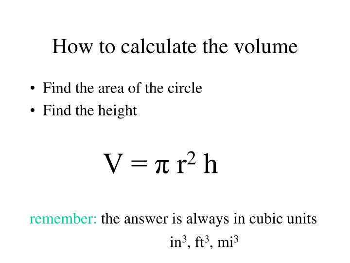 How to calculate the volume