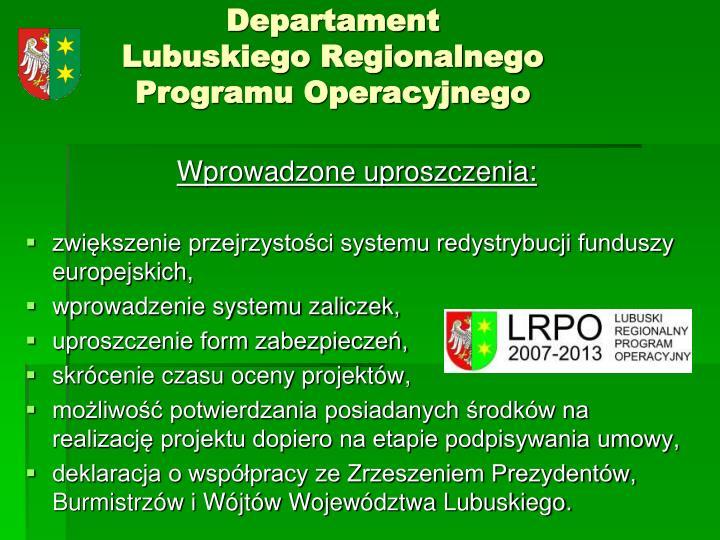 Departament lubuskiego regionalnego programu operacyjnego1