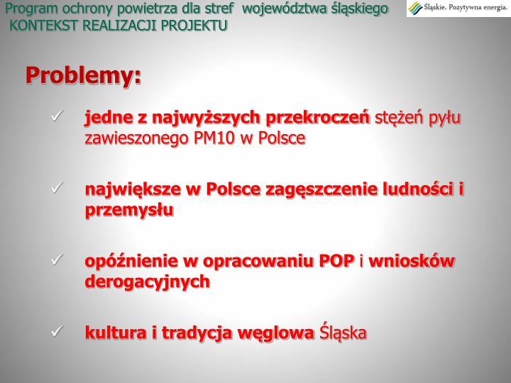Program ochrony powietrza dla stref  województwa śląskiego