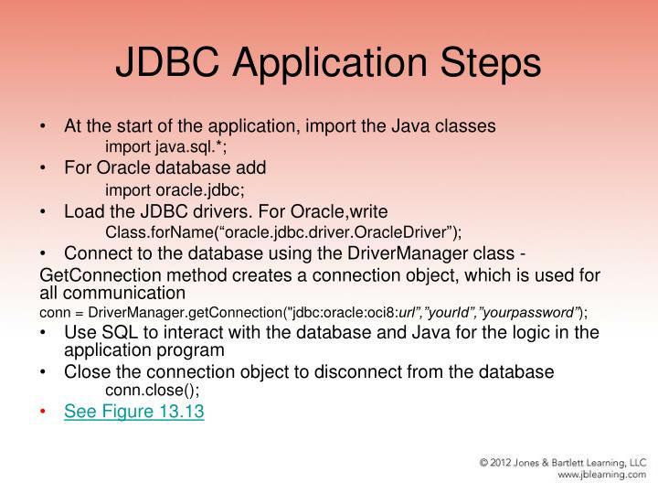 JDBC Application Steps