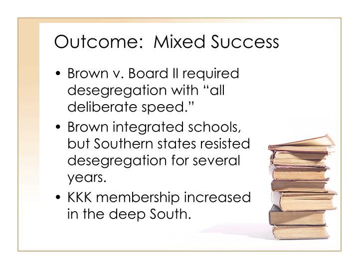 Outcome:  Mixed Success