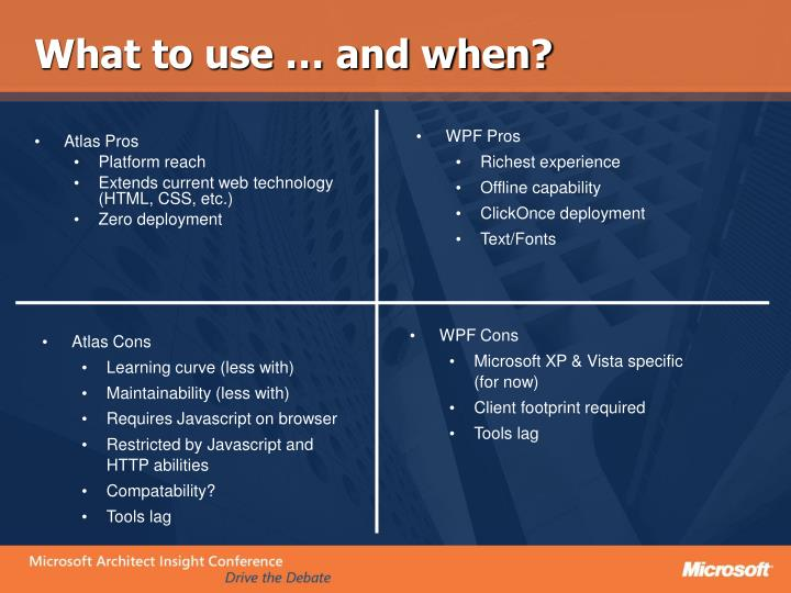 What to use … and when?