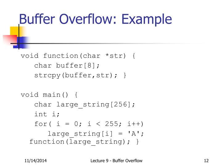 Buffer Overflow: Example