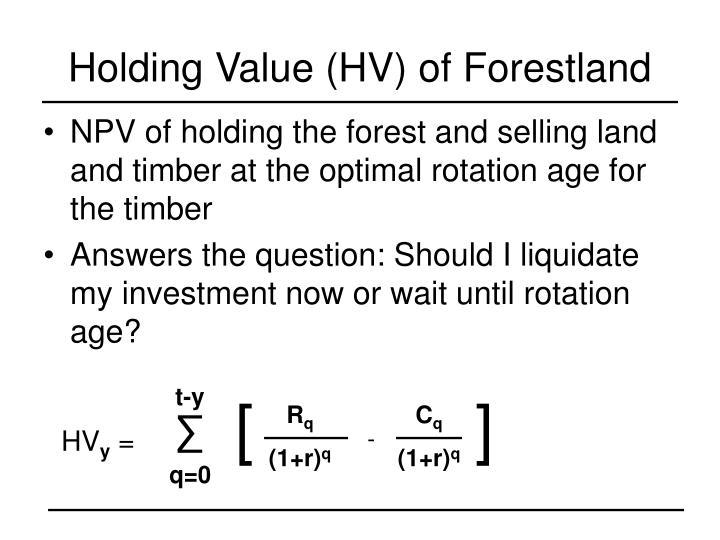Holding Value (HV) of Forestland