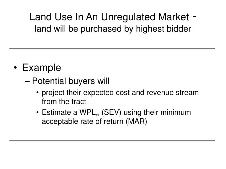 Land Use In An Unregulated Market