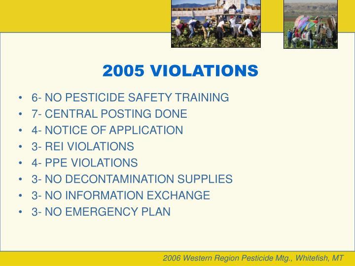 2005 VIOLATIONS