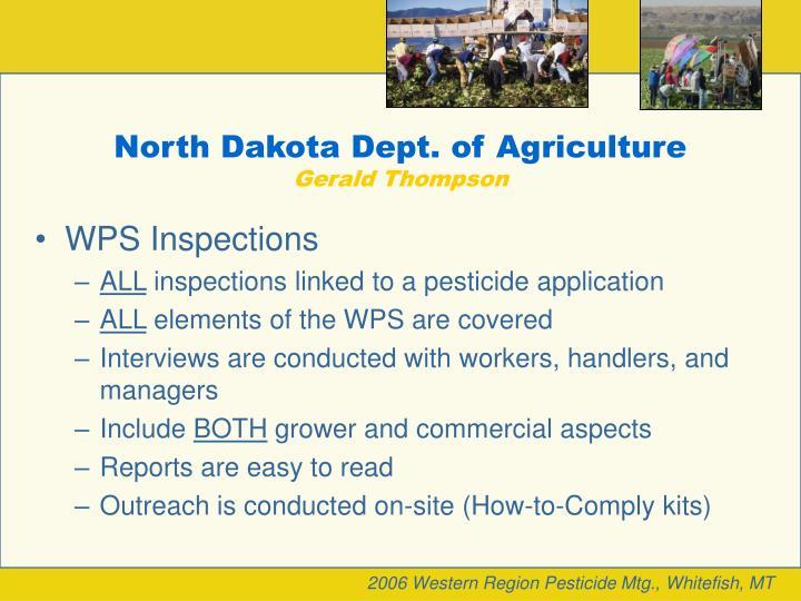 North dakota dept of agriculture gerald thompson