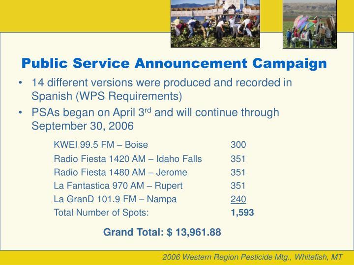 Public Service Announcement Campaign