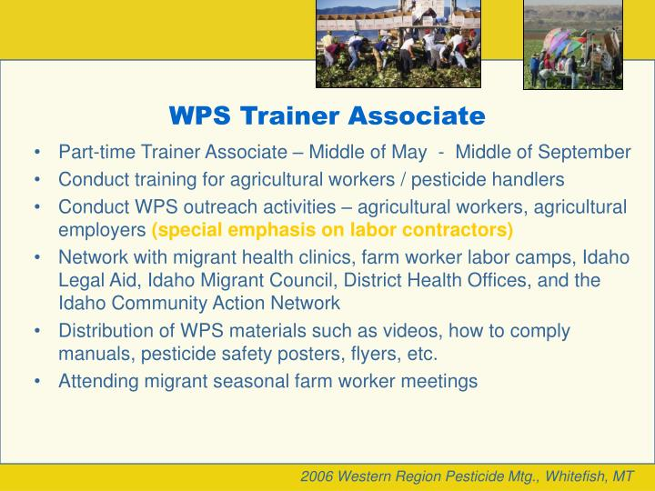 WPS Trainer Associate