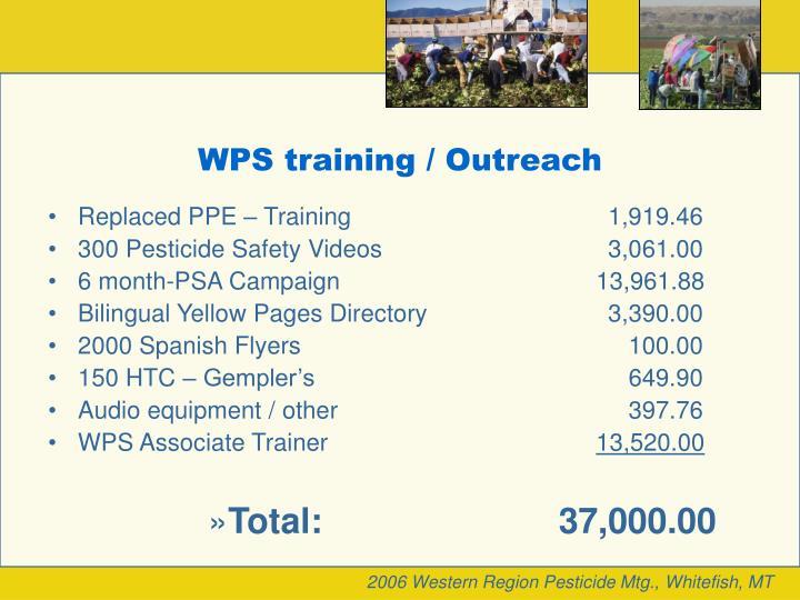 WPS training / Outreach