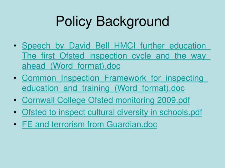 Policy background